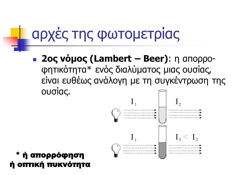 αρχές της φωτομετρίας 2ος νόμος (Lambert – Beer): η απορρο- φητικότητα* ενός διαλύματος μιας ουσίας, είναι ευθέως ανάλογη με τη συγκέντρωση της ουσίας