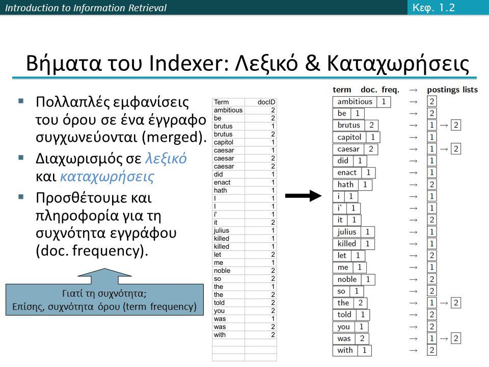 Introduction to Information Retrieval Βήματα του Indexer: Λεξικό & Καταχωρήσεις  Πολλαπλές εμφανίσεις του όρου σε ένα έγγραφο συγχωνεύονται (merged).
