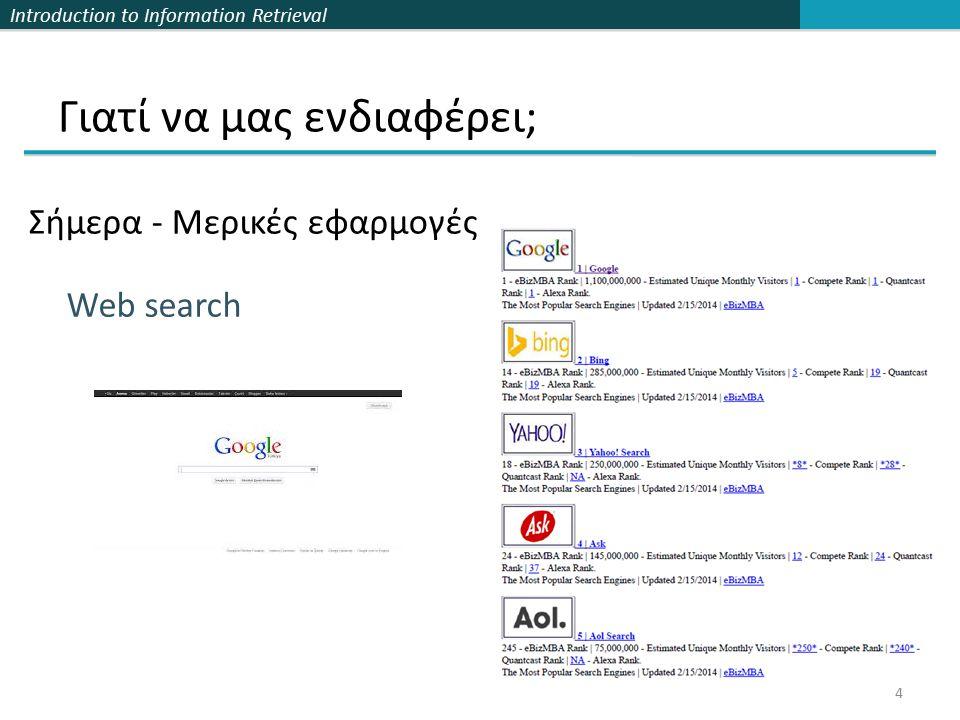 Introduction to Information Retrieval Γιατί να μας ενδιαφέρει; Σήμερα - Μερικές εφαρμογές 4 Web search