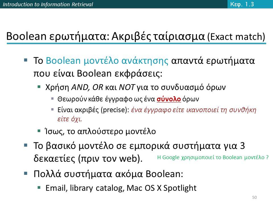 Introduction to Information Retrieval Boolean ερωτήματα: Ακριβές ταίριασμα (Exact match)  Το Boolean μοντέλο ανάκτησης απαντά ερωτήματα που είναι Boolean εκφράσεις:  Χρήση AND, OR και NOT για το συνδυασμό όρων  Θεωρούν κάθε έγγραφο ως ένα σύνολο όρων  Είναι ακριβές (precise): ένα έγγραφο είτε ικανοποιεί τη συνθήκη είτε όχι.