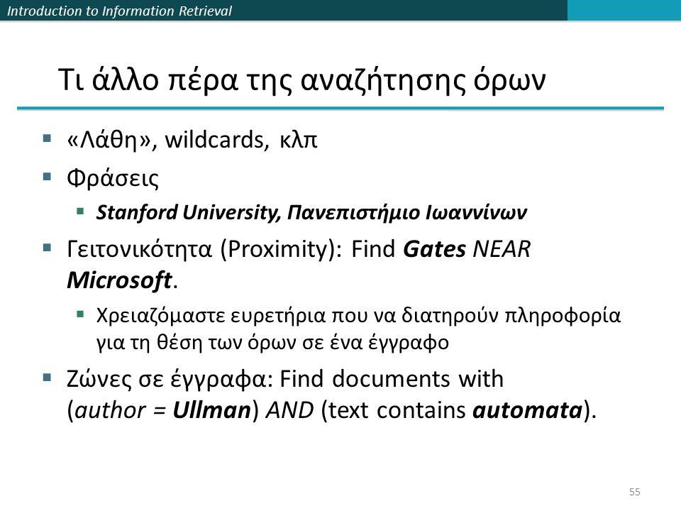 Introduction to Information Retrieval Τι άλλο πέρα της αναζήτησης όρων  «Λάθη», wildcards, κλπ  Φράσεις  Stanford University, Πανεπιστήμιο Ιωαννίνων  Γειτονικότητα (Proximity): Find Gates NEAR Microsoft.