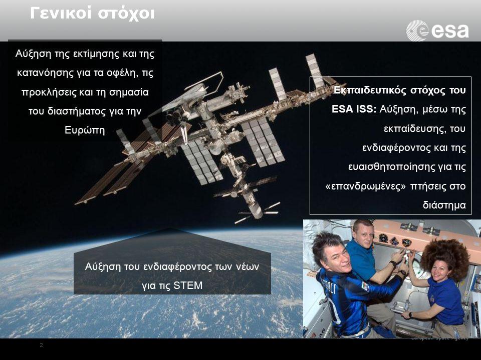2 Εκπαιδευτικός στόχος του ESA ISS: Αύξηση, μέσω της εκπαίδευσης, του ενδιαφέροντος και της ευαισθητοποίησης για τις «επανδρωμένες» πτήσεις στο διάστημα Αύξηση της εκτίμησης και της κατανόησης για τα οφέλη, τις προκλήσεις και τη σημασία του διαστήματος για την Ευρώπη Γενικοί στόχοι Αύξηση του ενδιαφέροντος των νέων για τις STEM