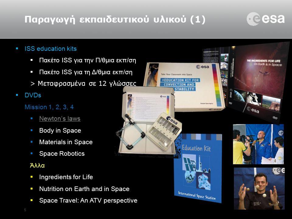 5 Παραγωγή εκπαιδευτικού υλικού (1)  ISS education kits  Πακέτο ISS για την Π/θμια εκπ/ση  Πακέτο ISS για τη Δ/θμια εκπ/ση > Μεταφρασμένα σε 12 γλώσσες  DVDs Mission 1, 2, 3, 4  Newton's laws Newton's laws  Body in Space  Materials in Space  Space Robotics Άλλα  Ingredients for Life  Nutrition on Earth and in Space  Space Travel: An ATV perspective