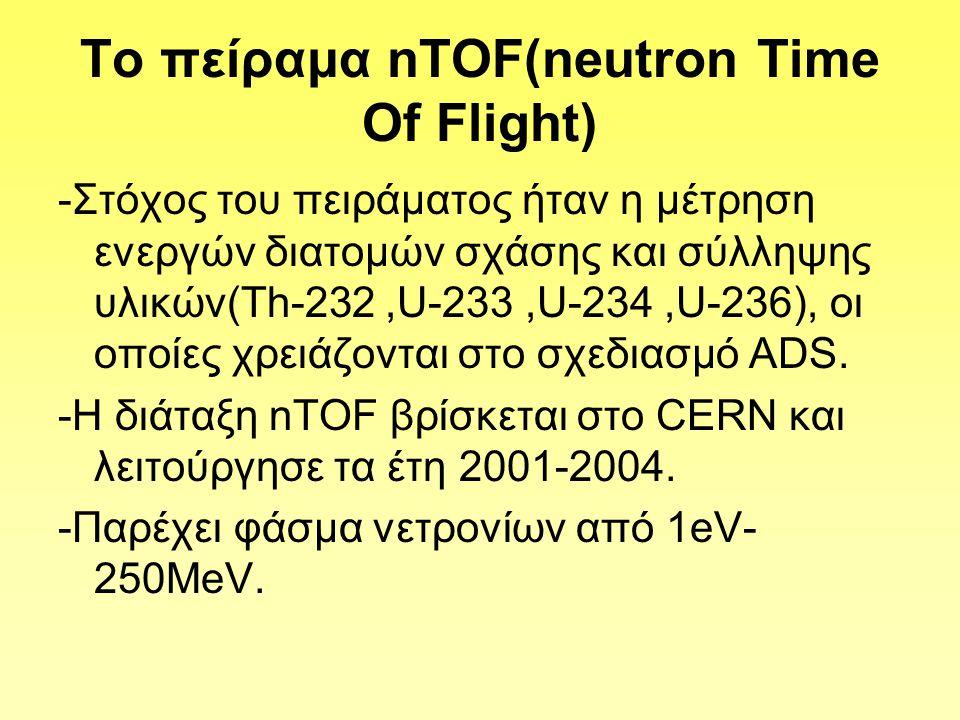To πείραμα nTOF(neutron Time Of Flight) -Στόχος του πειράματος ήταν η μέτρηση ενεργών διατομών σχάσης και σύλληψης υλικών(Th-232,U-233,U-234,U-236), οι οποίες χρειάζονται στο σχεδιασμό ADS.