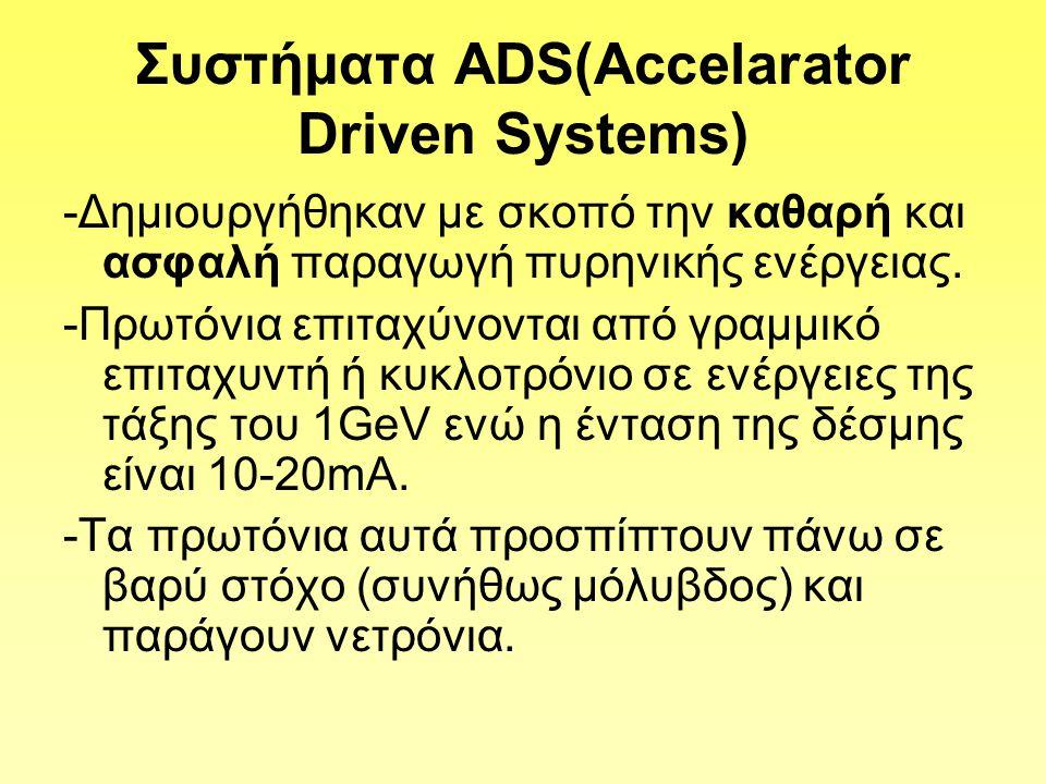 Συστήματα ΑDS(Accelarator Driven Systems) -Δημιουργήθηκαν με σκοπό την καθαρή και ασφαλή παραγωγή πυρηνικής ενέργειας.