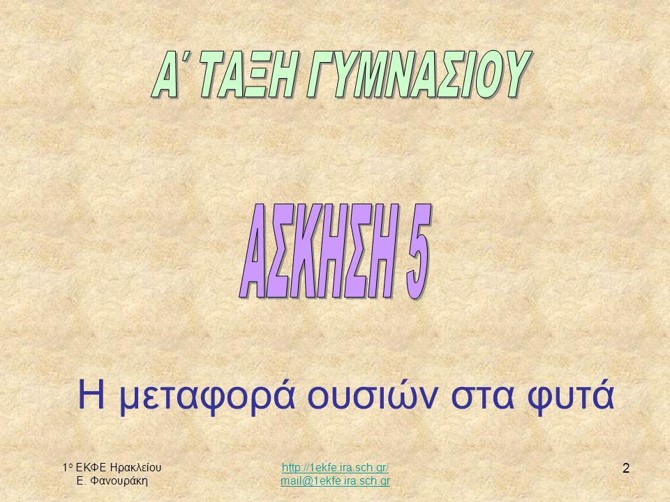 1 ο ΕΚΦΕ Ηρακλείου Ε. Φανουράκη http://1ekfe.ira.sch.gr/ mail@1ekfe.ira.sch.gr 2 Η μεταφορά ουσιών στα φυτά