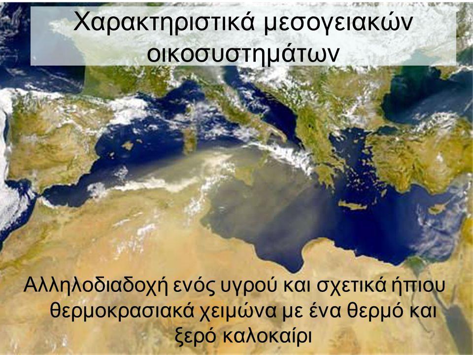 Χαρακτηριστικά μεσογειακών οικοσυστημάτων Αλληλοδιαδοχή ενός υγρού και σχετικά ήπιου θερμοκρασιακά χειμώνα με ένα θερμό και ξερό καλοκαίρι