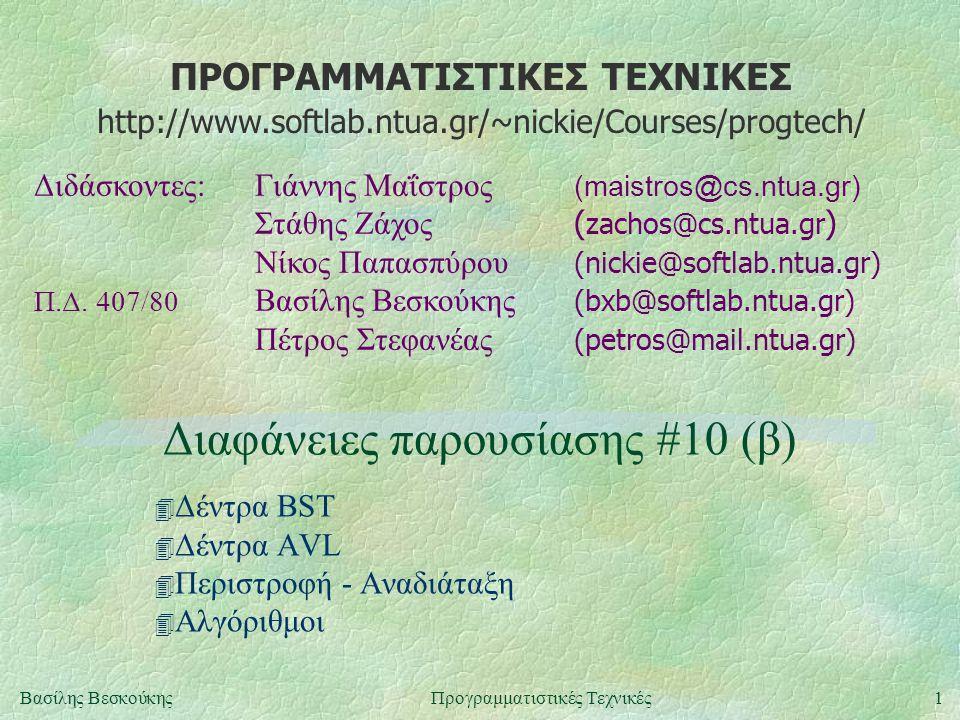 ΠΡΟΓΡΑΜΜΑΤΙΣΤΙΚΕΣ ΤΕΧΝΙΚΕΣ Διδάσκοντες:Γιάννης Μαΐστρος (maistros@cs.ntua.gr) Στάθης Ζάχος ( zachos@cs.ntua.gr ) Νίκος Παπασπύρου (nickie@softlab.ntua.gr) Π.Δ.