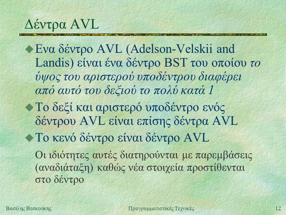 12Βασίλης ΒεσκούκηςΠρογραμματιστικές Τεχνικές Δέντρα AVL u Ενα δέντρο AVL (Adelson-Velskii and Landis) είναι ένα δέντρο BST του οποίου το ύψος του αριστερού υποδέντρου διαφέρει από αυτό του δεξιού το πολύ κατά 1 u Το δεξί και αριστερό υποδέντρο ενός δέντρου AVL είναι επίσης δέντρα AVL u Το κενό δέντρο είναι δέντρο AVL Οι ιδιότητες αυτές διατηρούνται με παρεμβάσεις (αναδιάταξη) καθώς νέα στοιχεία προστίθενται στο δέντρο