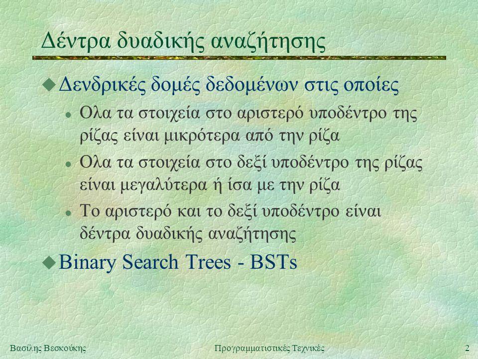 2Βασίλης ΒεσκούκηςΠρογραμματιστικές Τεχνικές Δέντρα δυαδικής αναζήτησης u Δενδρικές δομές δεδομένων στις οποίες l Ολα τα στοιχεία στο αριστερό υποδέντρο της ρίζας είναι μικρότερα από την ρίζα l Ολα τα στοιχεία στο δεξί υποδέντρο της ρίζας είναι μεγαλύτερα ή ίσα με την ρίζα l Το αριστερό και το δεξί υποδέντρο είναι δέντρα δυαδικής αναζήτησης u Binary Search Trees - BSTs