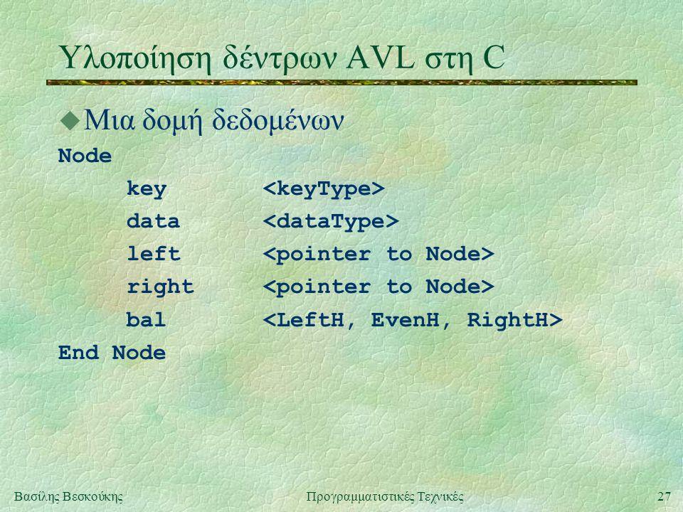 27Βασίλης ΒεσκούκηςΠρογραμματιστικές Τεχνικές Υλοποίηση δέντρων AVL στη C u Μια δομή δεδομένων Node key data left right bal End Node