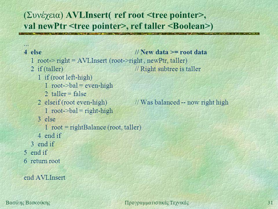 31Βασίλης ΒεσκούκηςΠρογραμματιστικές Τεχνικές (Συνέχεια) AVLInsert( ref root, val newPtr, ref taller )...