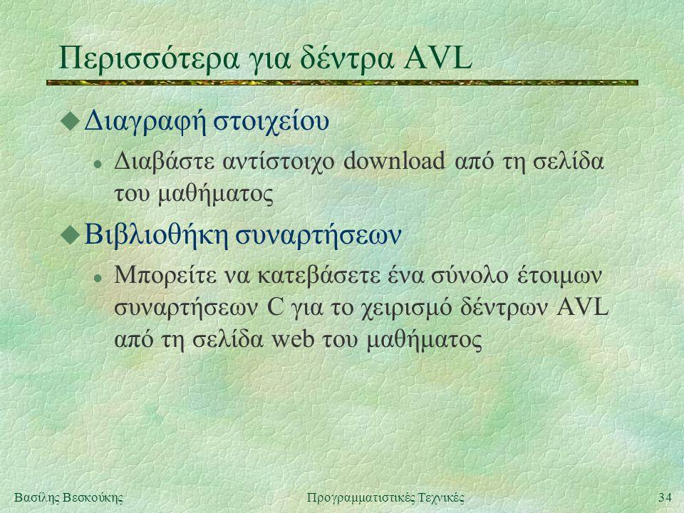 34Βασίλης ΒεσκούκηςΠρογραμματιστικές Τεχνικές Περισσότερα για δέντρα AVL u Διαγραφή στοιχείου l Διαβάστε αντίστοιχο download από τη σελίδα του μαθήματος u Βιβλιοθήκη συναρτήσεων l Μπορείτε να κατεβάσετε ένα σύνολο έτοιμων συναρτήσεων C για το χειρισμό δέντρων AVL από τη σελίδα web του μαθήματος