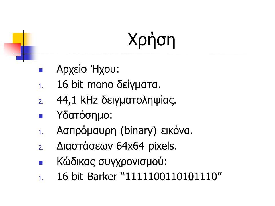 Χρήση Αρχείο Ήχου: 1. 16 bit mono δείγματα. 2. 44,1 kHz δειγματοληψίας. Υδατόσημο: 1. Ασπρόμαυρη (binary) εικόνα. 2. Διαστάσεων 64x64 pixels. Κώδικας