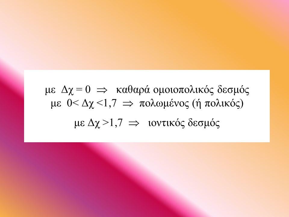με Δχ = 0  καθαρά ομοιοπολικός δεσμός με 0 1,7  ιοντικός δεσμός