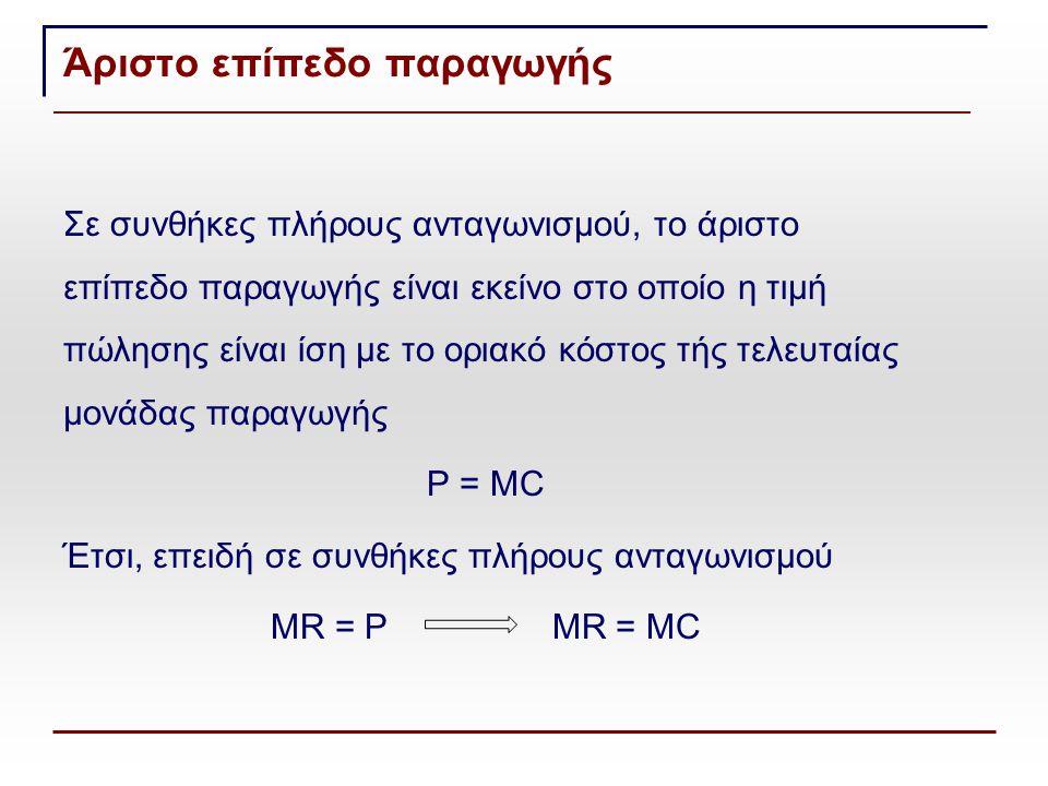 Άριστο επίπεδο παραγωγής Σε συνθήκες πλήρους ανταγωνισμού, το άριστο επίπεδο παραγωγής είναι εκείνο στο οποίο η τιμή πώλησης είναι ίση με το οριακό κόστος τής τελευταίας μονάδας παραγωγής P = MC Έτσι, επειδή σε συνθήκες πλήρους ανταγωνισμού MR = P MR = MC