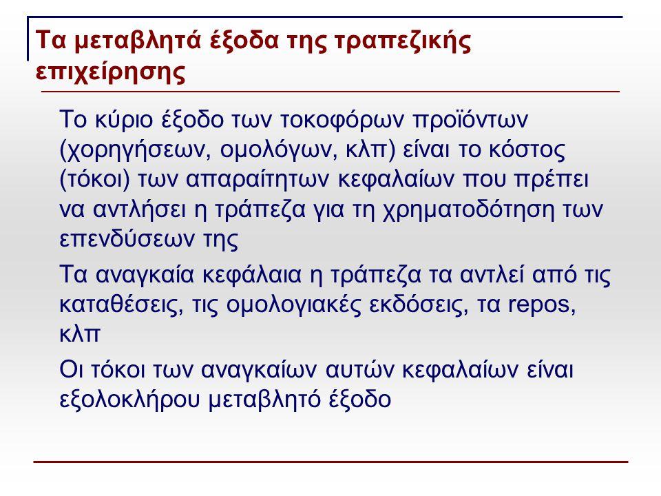 Τα μεταβλητά έξοδα της τραπεζικής επιχείρησης Το κύριο έξοδο των τοκοφόρων προϊόντων (χορηγήσεων, ομολόγων, κλπ) είναι το κόστος (τόκοι) των απαραίτητων κεφαλαίων που πρέπει να αντλήσει η τράπεζα για τη χρηματοδότηση των επενδύσεων της Τα αναγκαία κεφάλαια η τράπεζα τα αντλεί από τις καταθέσεις, τις ομολογιακές εκδόσεις, τα repos, κλπ Οι τόκοι των αναγκαίων αυτών κεφαλαίων είναι εξολοκλήρου μεταβλητό έξοδο