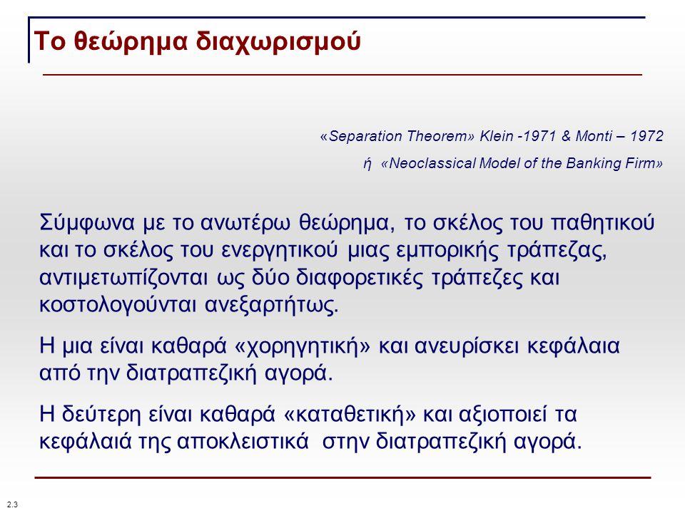 Το θεώρημα διαχωρισμού «Separation Theorem» Klein -1971 & Monti – 1972 ή «Neoclassical Model of the Banking Firm» Σύμφωνα με το ανωτέρω θεώρημα, το σκέλος του παθητικού και το σκέλος του ενεργητικού μιας εμπορικής τράπεζας, αντιμετωπίζονται ως δύο διαφορετικές τράπεζες και κοστολογούνται ανεξαρτήτως.