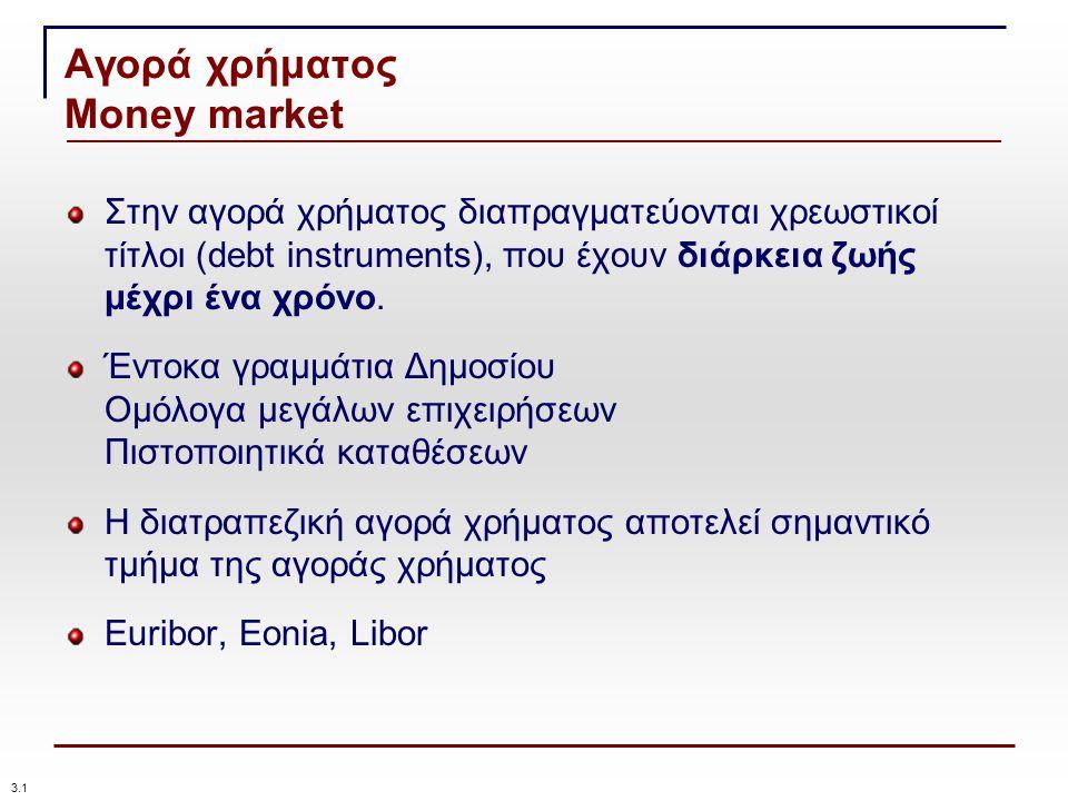 Αγορά χρήματος Money market Στην αγορά χρήματος διαπραγματεύονται χρεωστικοί τίτλοι (debt instruments), που έχουν διάρκεια ζωής μέχρι ένα χρόνο.
