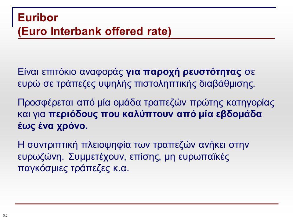 Euribor (Euro Interbank offered rate) Είναι επιτόκιο αναφοράς για παροχή ρευστότητας σε ευρώ σε τράπεζες υψηλής πιστοληπτικής διαβάθμισης.