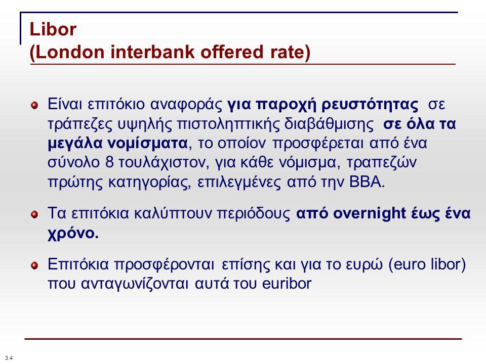Libor (London interbank offered rate) Είναι επιτόκιο αναφοράς για παροχή ρευστότητας σε τράπεζες υψηλής πιστοληπτικής διαβάθμισης σε όλα τα μεγάλα νομίσματα, το οποίον προσφέρεται από ένα σύνολο 8 τουλάχιστον, για κάθε νόμισμα, τραπεζών πρώτης κατηγορίας, επιλεγμένες από την ΒΒΑ.
