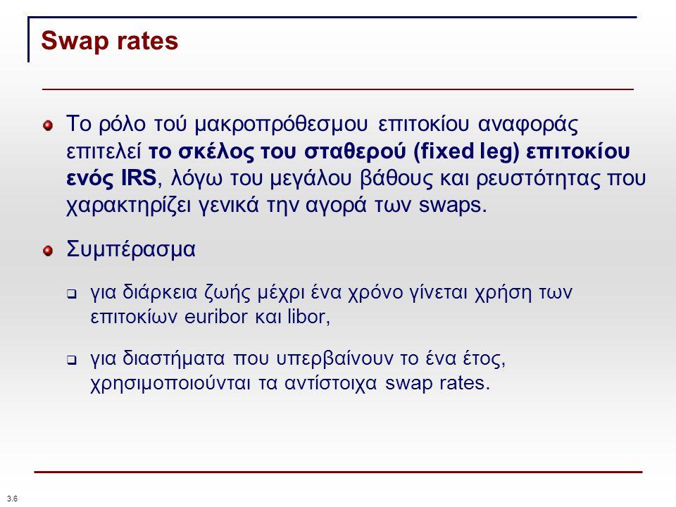 Swap rates Το ρόλο τού μακροπρόθεσμου επιτοκίου αναφοράς επιτελεί το σκέλος του σταθερού (fixed leg) επιτοκίου ενός IRS, λόγω του μεγάλου βάθους και ρευστότητας που χαρακτηρίζει γενικά την αγορά των swaps.