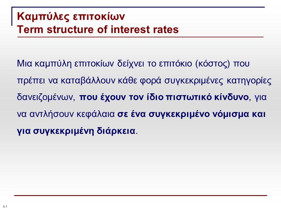 Καμπύλες επιτοκίων Term structure of interest rates Μια καμπύλη επιτοκίων δείχνει το επιτόκιο (κόστος) που πρέπει να καταβάλλουν κάθε φορά συγκεκριμένες κατηγορίες δανειζομένων, που έχουν τον ίδιο πιστωτικό κίνδυνο, για να αντλήσουν κεφάλαια σε ένα συγκεκριμένο νόμισμα και για συγκεκριμένη διάρκεια.