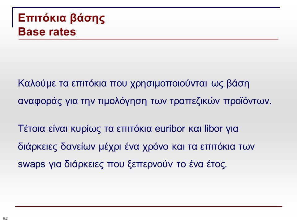 Επιτόκια βάσης Base rates 5.2 Καλούμε τα επιτόκια που χρησιμοποιούνται ως βάση αναφοράς για την τιμολόγηση των τραπεζικών προϊόντων.