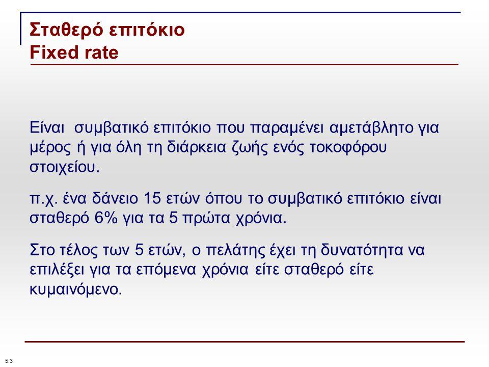Σταθερό επιτόκιο Fixed rate 5.3 Είναι συμβατικό επιτόκιο που παραμένει αμετάβλητο για μέρος ή για όλη τη διάρκεια ζωής ενός τοκοφόρου στοιχείου.