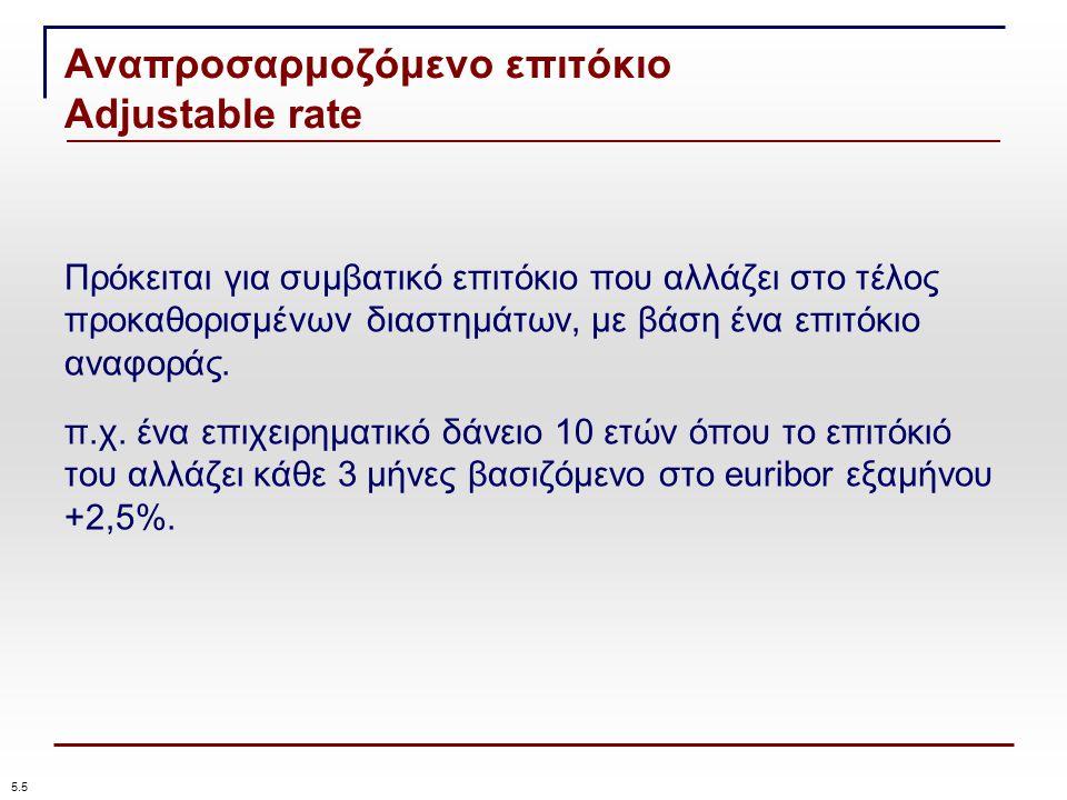 Αναπροσαρμοζόμενο επιτόκιο Adjustable rate 5.5 Πρόκειται για συμβατικό επιτόκιο που αλλάζει στο τέλος προκαθορισμένων διαστημάτων, με βάση ένα επιτόκιο αναφοράς.