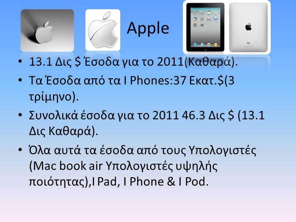 Apple 13.1 Δις $ Έσοδα για το 2011(Καθαρά).Τα Έσοδα από τα I Phones:37 Εκατ.$(3 τρίμηνο).