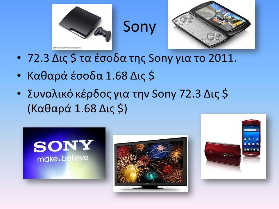 Sony 72.3 Δις $ τα έσοδα της Sony για το 2011.