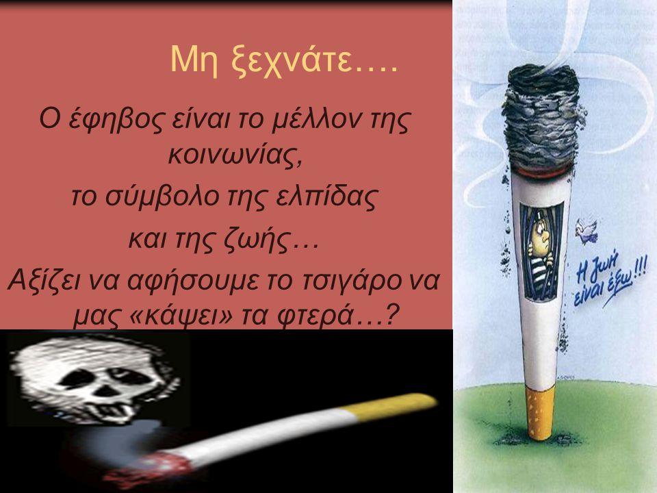 Μη ξεχνάτε…. Ο έφηβος είναι το μέλλον της κοινωνίας, το σύμβολο της ελπίδας και της ζωής… Αξίζει να αφήσουμε το τσιγάρο να μας «κάψει» τα φτερά…?