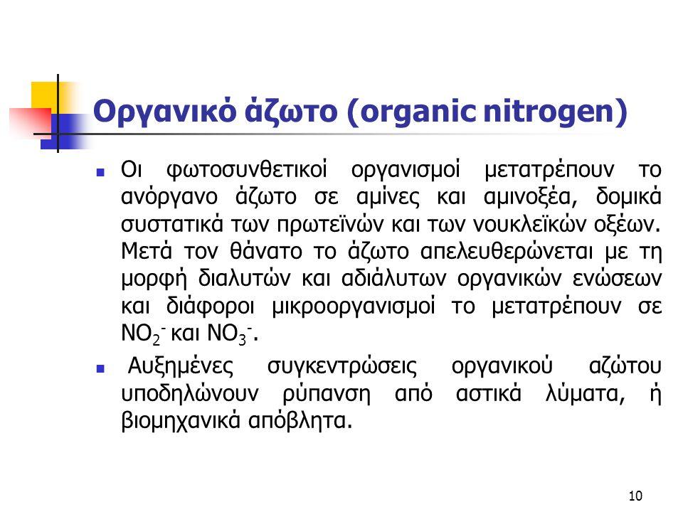 Οργανικό άζωτο (organic nitrogen) Οι φωτοσυνθετικοί οργανισμοί μετατρέπουν το ανόργανο άζωτο σε αμίνες και αμινοξέα, δομικά συστατικά των πρωτεϊνών κα