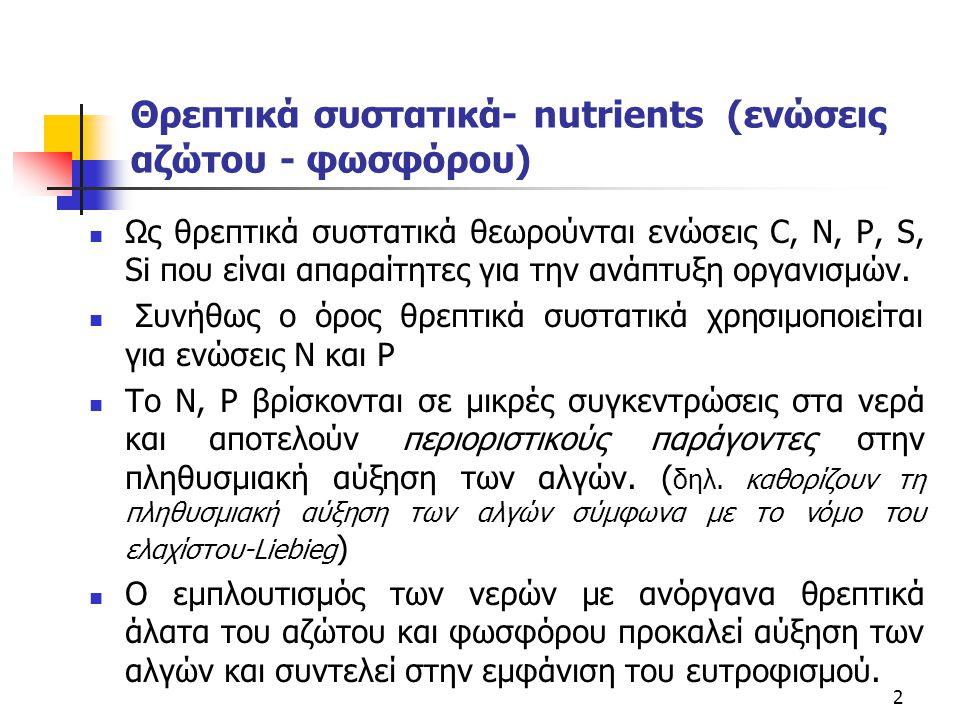 Θρεπτικά συστατικά- nutrients (ενώσεις αζώτου - φωσφόρου) Ως θρεπτικά συστατικά θεωρούνται ενώσεις C, N, P, S, Si που είναι απαραίτητες για την ανάπτυ