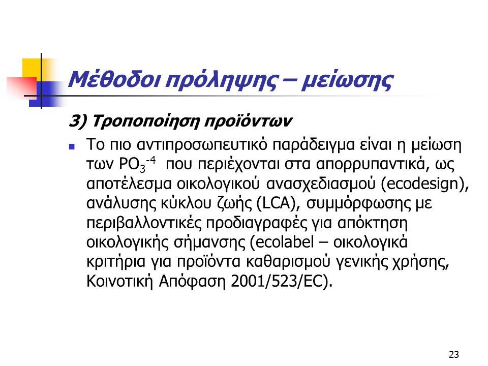 Μέθοδοι πρόληψης – μείωσης 3) Τροποποίηση προϊόντων Το πιο αντιπροσωπευτικό παράδειγμα είναι η μείωση των PO 3 -4 που περιέχονται στα απορρυπαντικά, ω