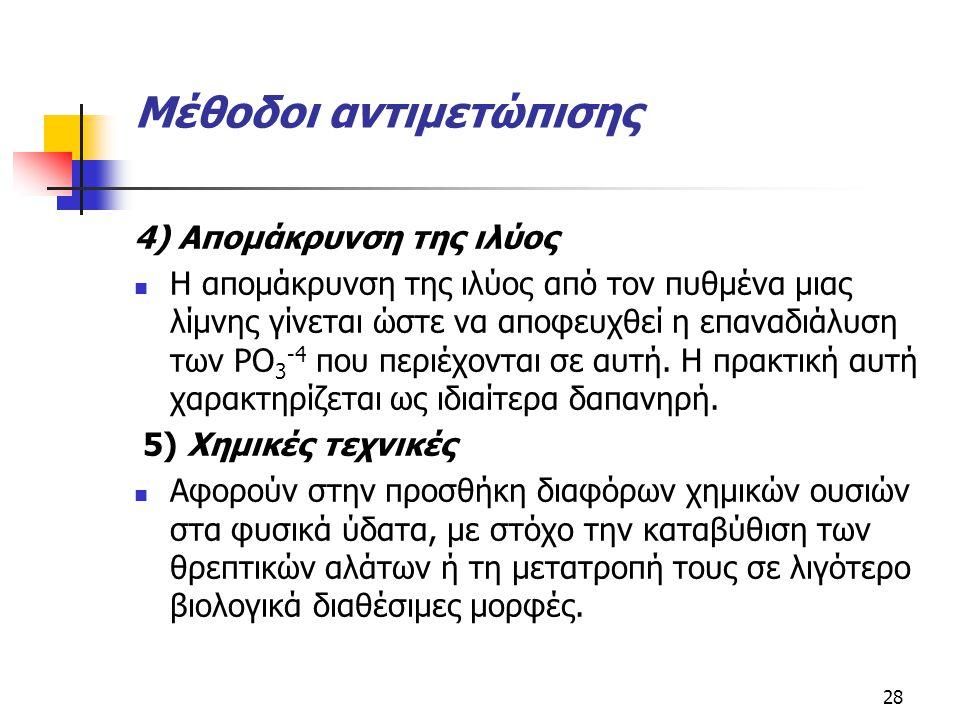 Μέθοδοι αντιμετώπισης 4) Απομάκρυνση της ιλύος Η απομάκρυνση της ιλύος από τον πυθμένα μιας λίμνης γίνεται ώστε να αποφευχθεί η επαναδιάλυση των PO 3