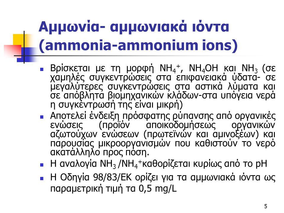 5 Αμμωνία- αμμωνιακά ιόντα (ammonia-ammonium ions) Βρίσκεται με τη μορφή NH 4 +, NH 4 OH και NH 3 (σε χαμηλές συγκεντρώσεις στα επιφανειακά ύδατα- σε