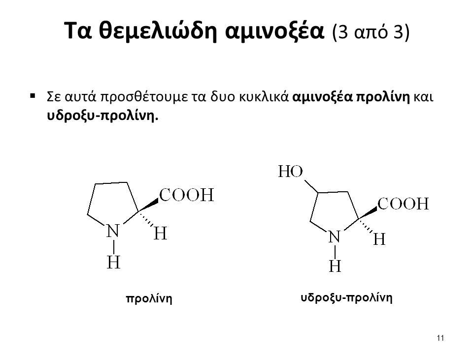 Τα θεμελιώδη αμινοξέα (3 από 3)  Σε αυτά προσθέτουμε τα δυο κυκλικά αμινοξέα προλίνη και υδροξυ-προλίνη. προλίνη υδροξυ-προλίνη 11