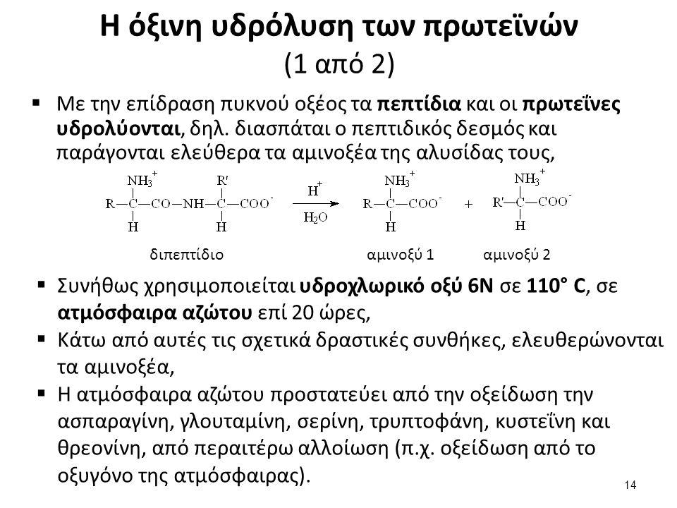 Η όξινη υδρόλυση των πρωτεϊνών (1 από 2)  Με την επίδραση πυκνού οξέος τα πεπτίδια και οι πρωτεΐνες υδρολύονται, δηλ. διασπάται ο πεπτιδικός δεσμός κ