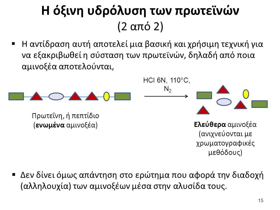 Η όξινη υδρόλυση των πρωτεϊνών (2 από 2)  Η αντίδραση αυτή αποτελεί μια βασική και χρήσιμη τεχνική για να εξακριβωθεί η σύσταση των πρωτεϊνών, δηλαδή