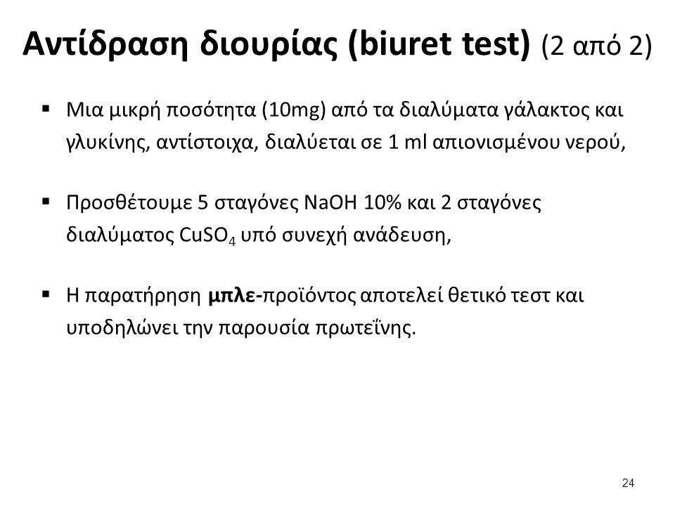Αντίδραση διουρίας (biuret test) (2 από 2)  Μια μικρή ποσότητα (10mg) από τα διαλύματα γάλακτος και γλυκίνης, αντίστοιχα, διαλύεται σε 1 ml απιονισμέ