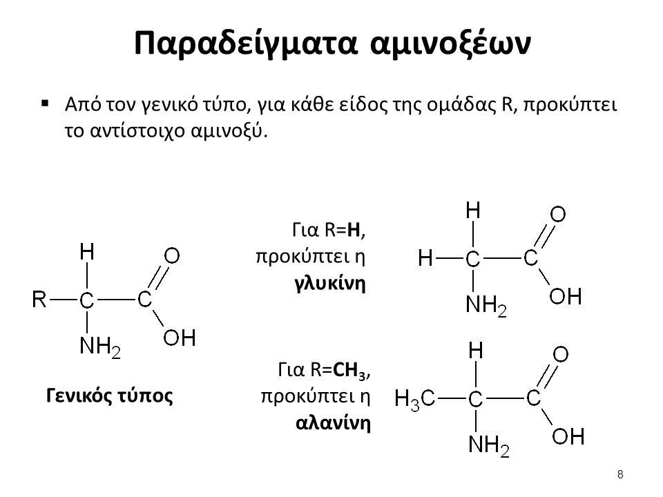 Παραδείγματα αμινοξέων  Από τον γενικό τύπο, για κάθε είδος της ομάδας R, προκύπτει το αντίστοιχο αμινοξύ. Γενικός τύπος Για R=H, προκύπτει η γλυκίνη