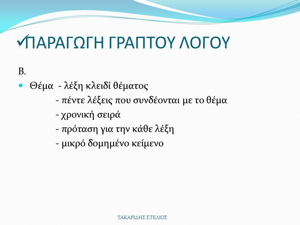 ΠΑΡΑΓΩΓΗ ΓΡΑΠΤΟΥ ΛΟΓΟΥ Β.