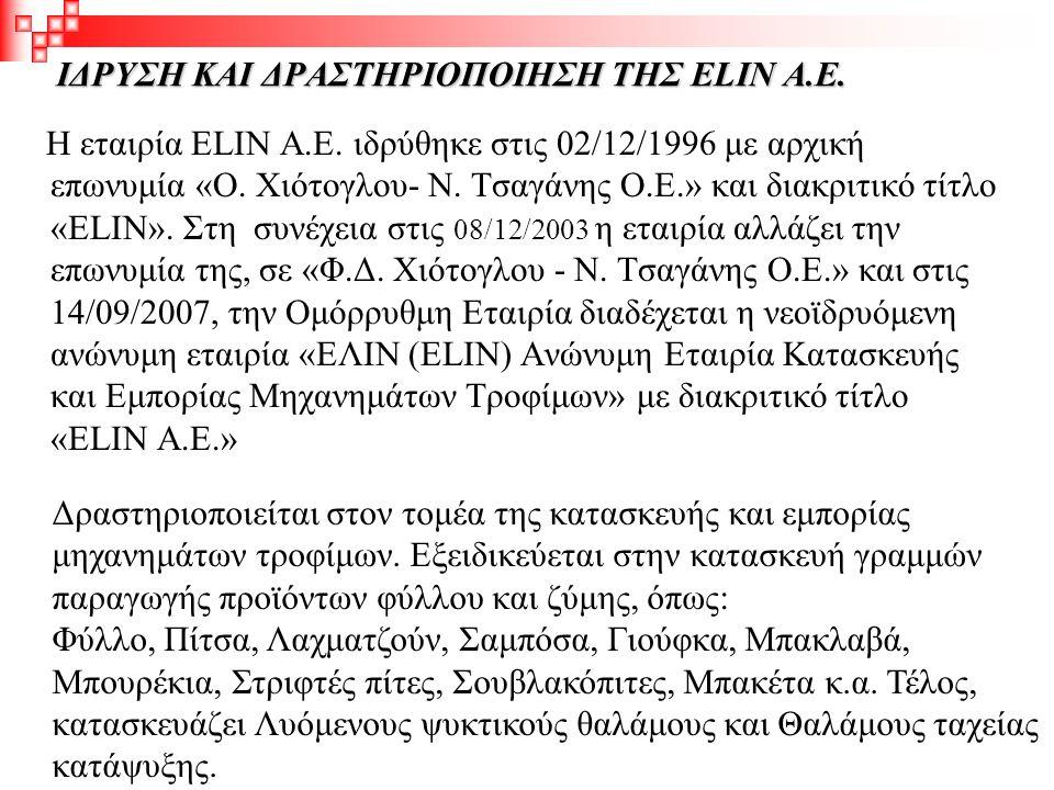 ΙΔΡΥΣΗ ΚΑΙ ΔΡΑΣΤΗΡΙΟΠΟΙΗΣΗ ΤΗΣ ELIN Α.Ε. Η εταιρία ELIN Α.Ε. ιδρύθηκε στις 02/12/1996 με αρχική επωνυμία «Ο. Χιότογλου- Ν. Τσαγάνης Ο.Ε.» και διακριτι