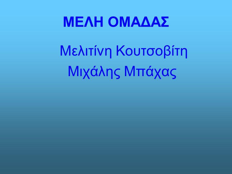 ΜΕΛΗ ΟΜΑΔΑΣ Μελιτίνη Κουτσοβίτη Μιχάλης Μπάχας