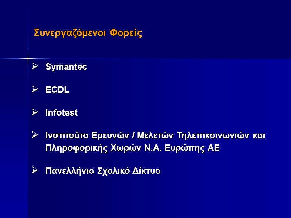 Συνεργαζόμενοι Φορείς  Symantec  ECDL  Infotest  Ινστιτούτο Ερευνών / Μελετών Τηλεπικοινωνιών και Πληροφορικής Χωρών Ν.Α. Ευρώπης ΑΕ  Πανελλήνιο