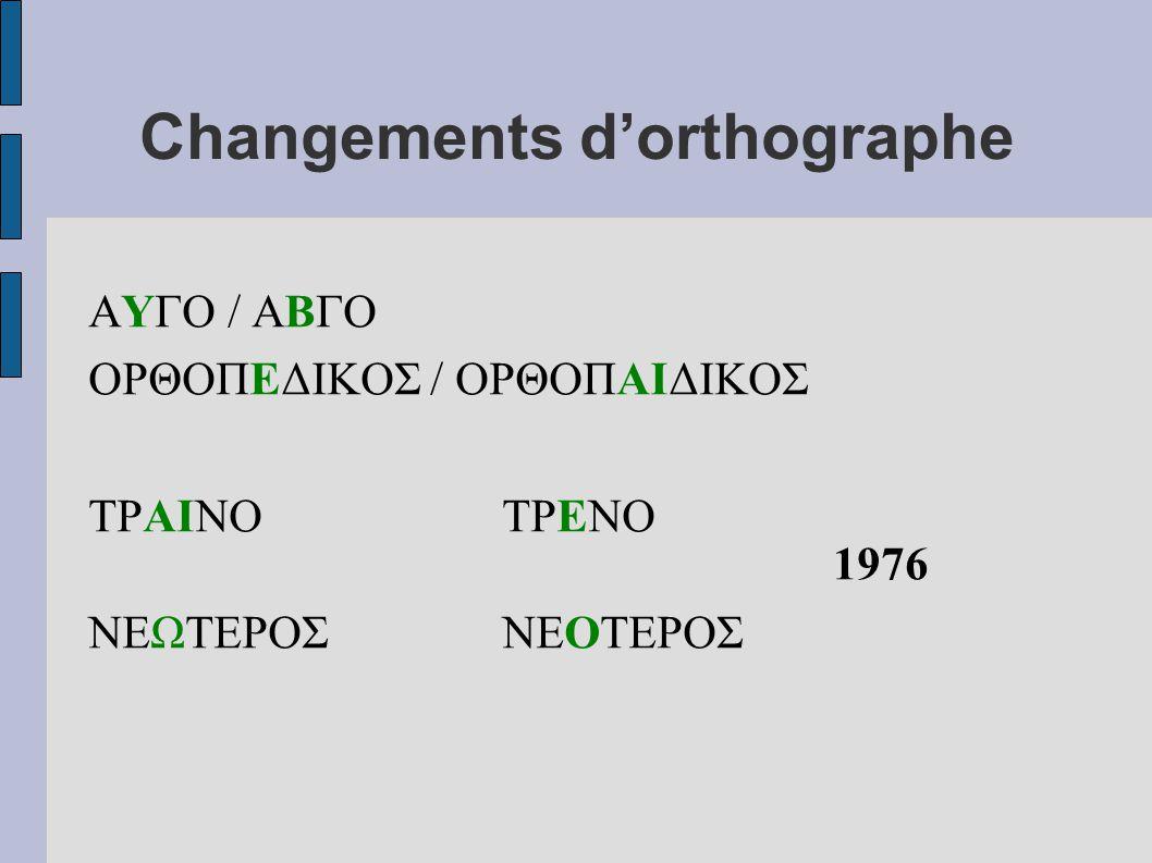Changements d'orthographe ΑΥΓΟ / ΑΒΓΟ ΟΡΘΟΠΕΔΙΚΟΣ / ΟΡΘΟΠΑΙΔΙΚΟΣ ΤΡΑΙΝΟΤΡΕΝΟ 1976 ΝΕΩΤΕΡΟΣΝΕΟΤΕΡΟΣ