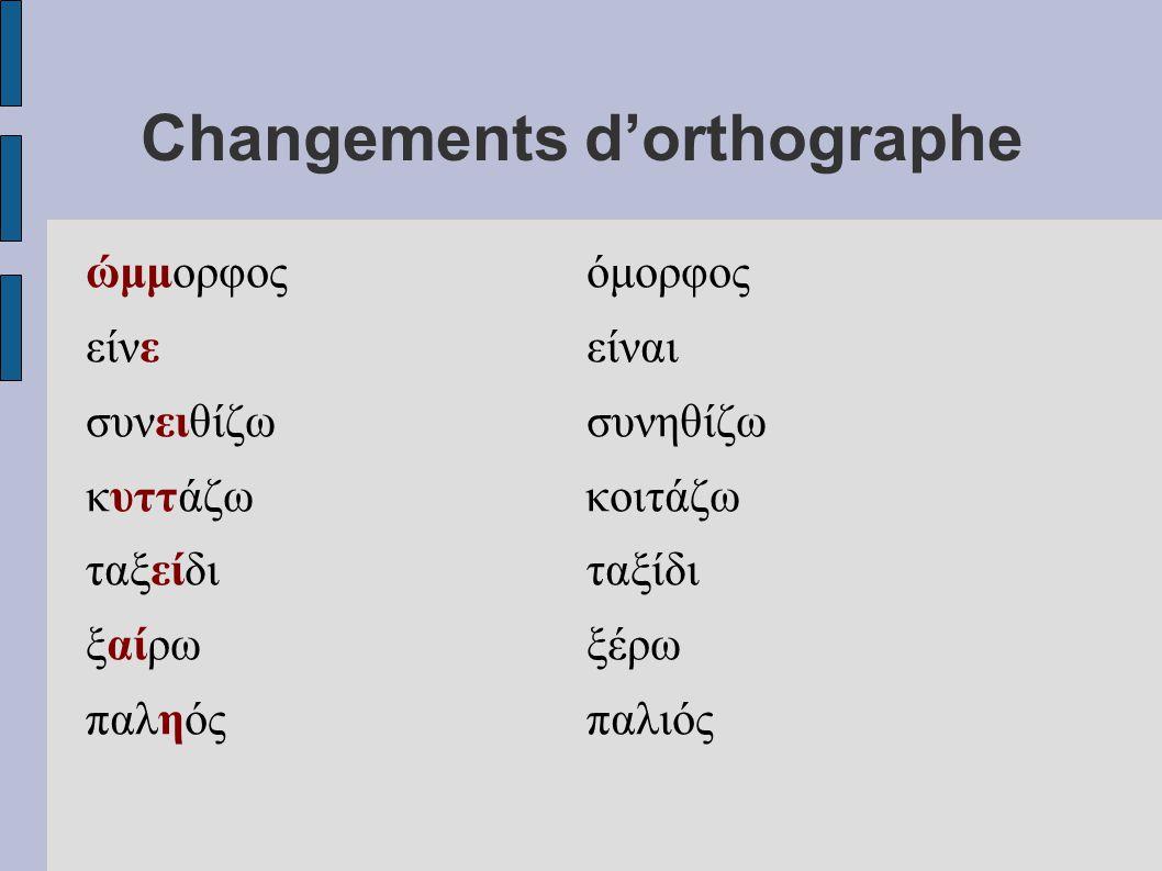 Changements d'orthographe ώμμορφοςόμορφος είνεείναι συνειθίζωσυνηθίζω κυττάζω κοιτάζω ταξείδιταξίδι ξαίρωξέρω παληόςπαλιός
