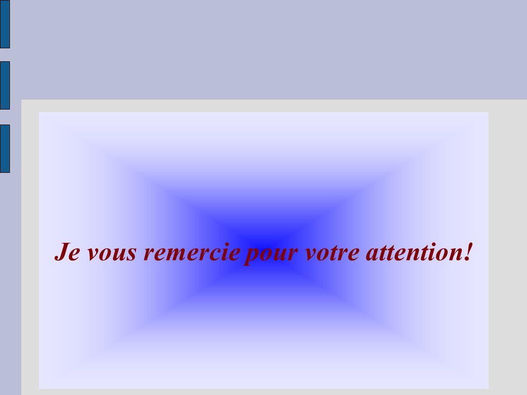 Je vous remercie pour votre attention!
